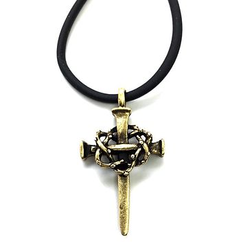 Nail Crown Cross Necklace Brass
