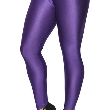 BadAssLeggings Women's Shiny Candy Neon Leggings XL Purple