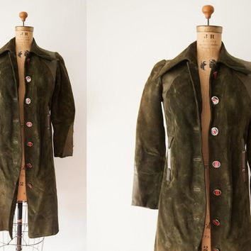 Rare Vintage 1970s Gucci Designer Suede Leather Coat