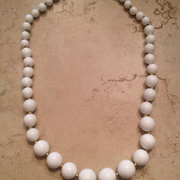 Vintage Trifari Necklace White Bead Costume Jewelry