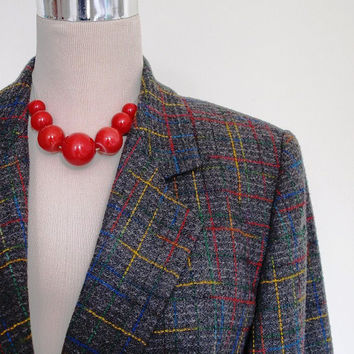 Vintage 80's Jacket - Grey and Multi Coloured Blazer - Wool Blend - Tweedy Suit Jacket