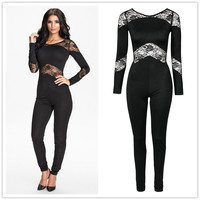 RA70184 high quality long sleeve solid playsuit 2016 hot sale lace plus size bodysuit women new style fashion overalls for women