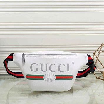 GUCCI Hot Sale Leather Waist Bag Single Shoulder Bag Crossbody Satchel White I/A