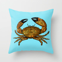 Stone Rock'd Stone Crab By Sharon Cummings Throw Pillow by Sharon Cummings