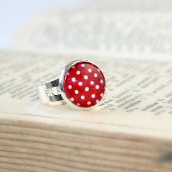 Red And White Polka Dot Ring, Adjustable Ring, Polka Dot Jewelry