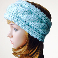 Ice Blue Cabled Ear Warmer, Hand Knit Headband, Aqua Earwarmer, Blue Winter Head Band, Teen Gifts, Womens Gifts