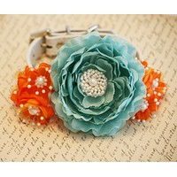 Turquoise and Tangerine wedding Floral Dog Collar, Pet Wedding, Spring wedding
