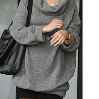 Stylish and Loose Stack Collar Design Fleeces For Female China Wholesale - Sammydress.com