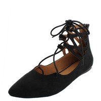 Ankle Wrap Flats - Black