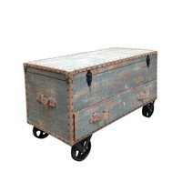 Pre-owned Vintage Style Sky Blue Wheeled Trunk