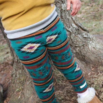 Teal Aztec Leggings.Tribal Leggings.Teal Leggings.Baby and Toddler.Kids and Babies. Leg warmers.Winter leggings