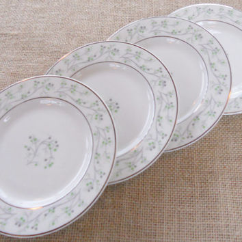 Thomas Haviland Greenbrier Bread and Butter Plates, Set of 4, Tea Party, Modern, Retro, Mad Men