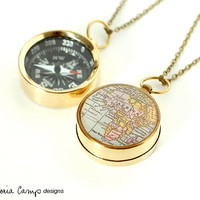 Africa Map Compass Necklace on Brass Chain, Working Pocket Compass, Travel, Map Jewelry, Antique Map