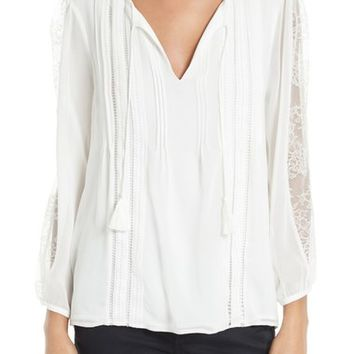 Joie Opala Lace Inset Silk Peasant Blouse | Nordstrom
