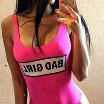 Fuchsia Pink White Black Sleeveless Scoop Neck Bad Girl One Piece Swimsuit