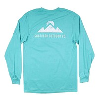 Peak Logo Long Sleeve Tee in Outer Bank Teal by Southern Outdoor Co.