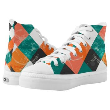 Squares Design High-Top Sneakers