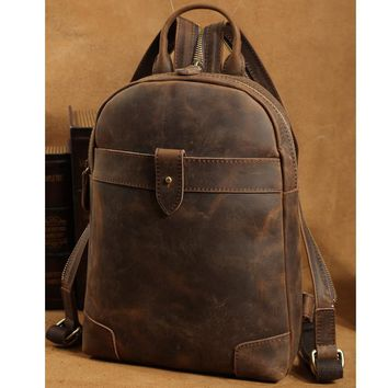 tiding Small Genuine Leather Backpack For iPad Men Shoulder Bag Retro Cowhide Crossbody Bag Casual Travel Daypack Rucksack Brown