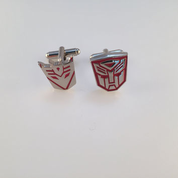Transformer Cufflinks, Autobot Cufflinks, Decepticon Cuff Links, Red Transformers, Wedding Cuff Links, Father's Day, Graduation
