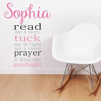 Read Me A Story Personalized Custom Wall Quote Vinyl Wall Decal Sticker