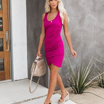 Synergy Ruched Jersey Tank Dress - Smoothie