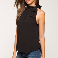 Tie Neck Mock Neck Top