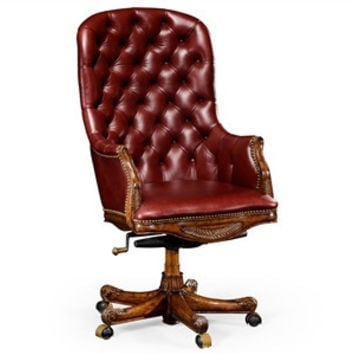 Buttoned red leather desk chair (High back)