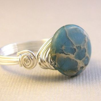 Blue jasper ring. Ocean jasper. Sterling silver. Wire wrapped