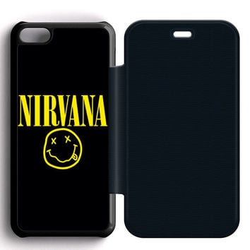 Nirvana Leather Wallet Flip Case iPhone 5C