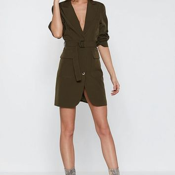 Ring Pull Belted Mini Blazer Dress
