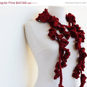 Red Ruffle Scarf Crochet Scarves Frilly Lariat Skinny by Ayca