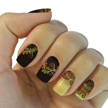 One Sheet Dream Grass Pattern Resin Nail Art Sticker