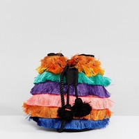 Bershka fringe detail cross body bag in multi at asos.com