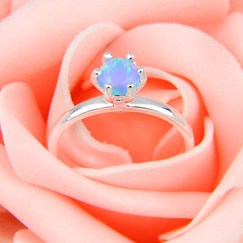 10 Pieces 1 Lot  Mix Size Round Blue Fire Opal Silver Plated Wedding Rings Mother Gift Russia Rings Australia Rings