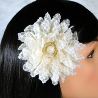 Bridesmaid Hair Clip Fascinator Ivory Lace Flower with Gold Pearl Button Center