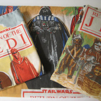 HTF Vintage 1983 Star Wars Return Of The Jedi TWIN Size Bedding Set 3 Piece Flat Fitted Pillowcase Kids Bedding Clean Used Made in Canada