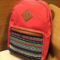 Red Strip Print Canvas Backpack