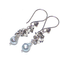 Grey Pearl Earrings Moonstone Earrings Moonstone Jewelry Cascade Earrings Akoya Pearl Earrings Silver Earrings