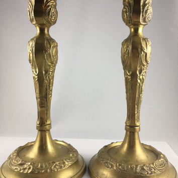 Brass Candlestick Holder Set of 2, Ornate Brass, Ornate Candle Holder, Solid Brass, Candlestick Holder, Flower Motif, Brass Flower
