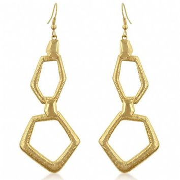 Valerie's Asymmetrical Matte Gold Drop Earrings-Final Sale