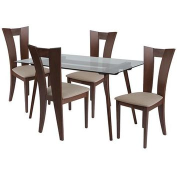 Parlier 5 Piece Walnut Wood Dining Table Set with Glass Top and Slotted Back Wood Dining Chairs - Padded Seats