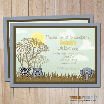 Printable safari baby shower invitation Zoo birthday party invite card Safari adventure African elephant zebra kids boys girls