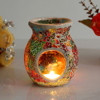 1 X Mosaic Glass Candle Holder Incense Burner Oil Lamp Cafe Bar Home Table Decorative