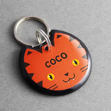 Pet ID Tag Tiger - Animal, Cat Tag, Dog Tag, Cat Collar, Dog Collar, Animal Print, Personalized, Custom, Cat Lover Gift, Dog Lover Gift