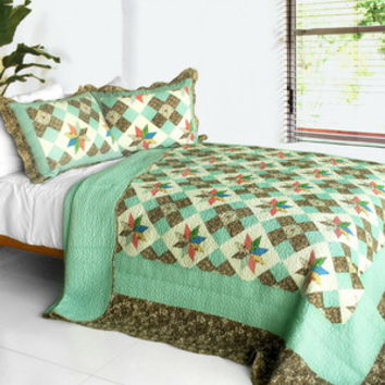 Deep in My Heart 3PC Cotton Contained Vermicelli Quilted Patchwork Quilt Set in Full/Queen Size