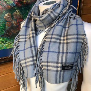 VONEA7H Burberry Happy Fringe Blue Gray Nova Check Wool Plaid Scarf