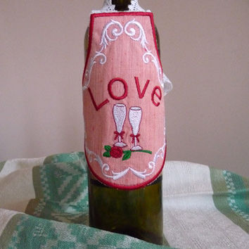 Decorative apron embroidered for wine bottle-Valentine's decor-wedding decor-love
