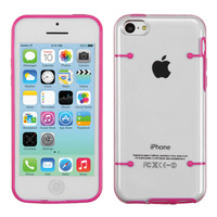 Hybrid Tentacles Gummy Cover Case for Apple iPhone 5C - Clear/Hot Pink