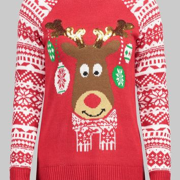 Wipalo Women Plus Size Christmas Reindeer Pullover Sweater Casual Crew Neck Raglan Sleeve Fall Winter Ugly Christmas Sweater