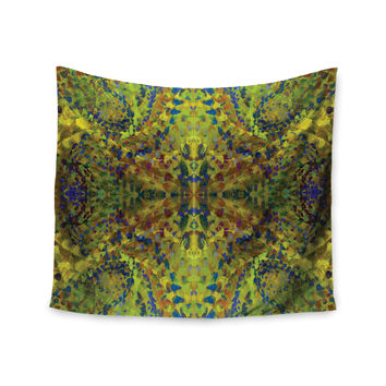 "Nikposium ""Yellow Jacket"" Green Abstract Wall Tapestry"